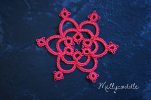 Completed tatted snowflake